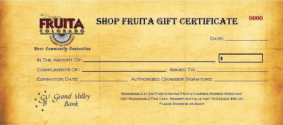 Shop Fruita Gift Certificate
