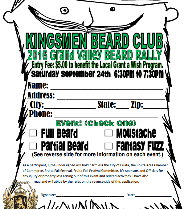 NEW at Fruita Fall Festival-Grand Valley Beard Rally to Benefit Local Youth